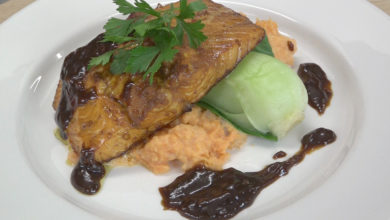 Photo of Video: Cooking with Rohan – Blackened salmon with crushed sweet potato and Asian vegetable